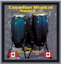 Adriano and Elsa's Canadian Music Site Award.  February 2, 2001.  We are the first Canadian Music Site to receive this award.!
